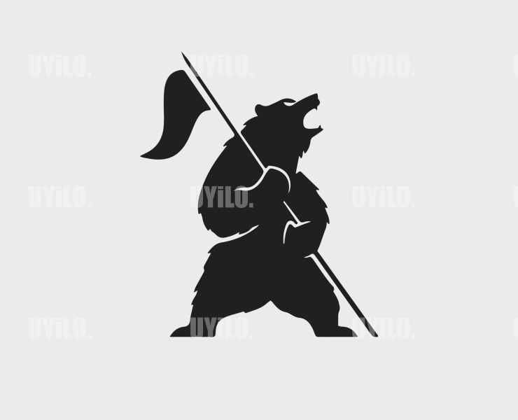 Bear holding a flag Instant download in several files for Logo