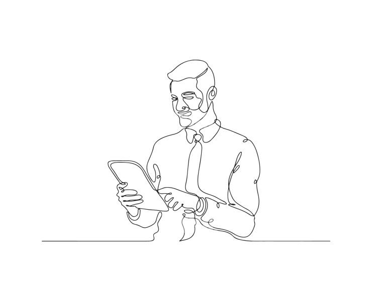 Man Working on Ipad Line Drawing