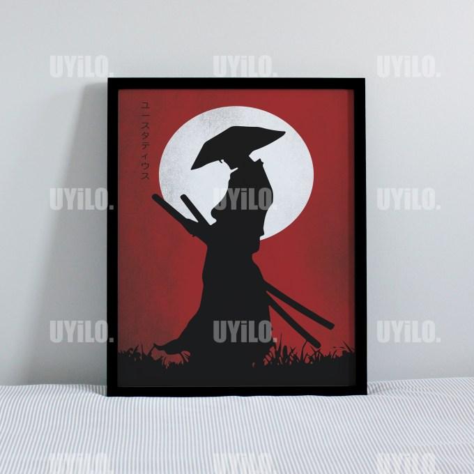 Samurai Red, Poster Print, Wall Decoration, Digital
