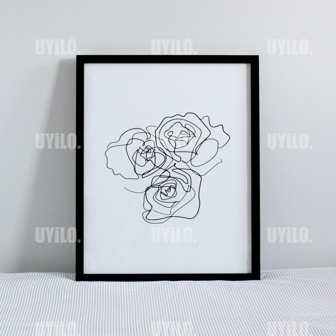 Roses, Drawing Print, Line Art, Wall Decoration, Digital