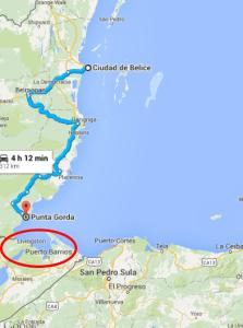 Belize City'den başlayan rotam. Bir günde yapmak mümkün olmadı.