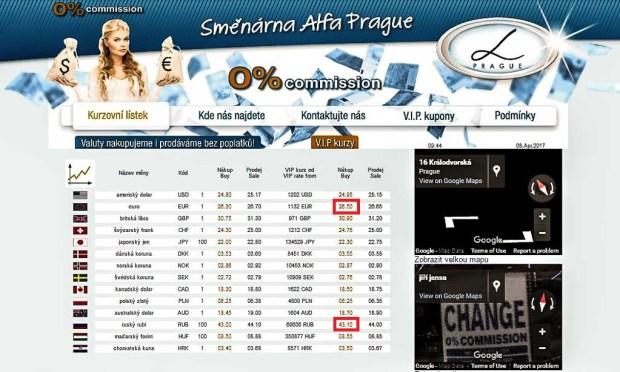 Обмен валюты в Праге. Курс покупки рубля и евро в арабском обменнике «Alfa Prague»