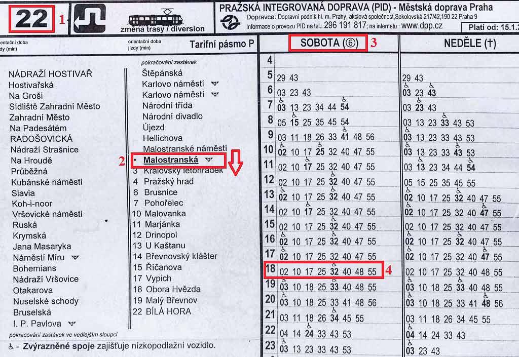 Как пользоваться транспортом в Праге. Расписание движения 22 трамвая