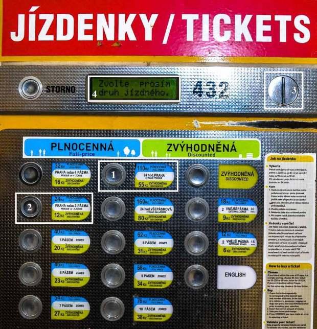 Купить билет на транспорт в Праге. Автомат по продаже билетов
