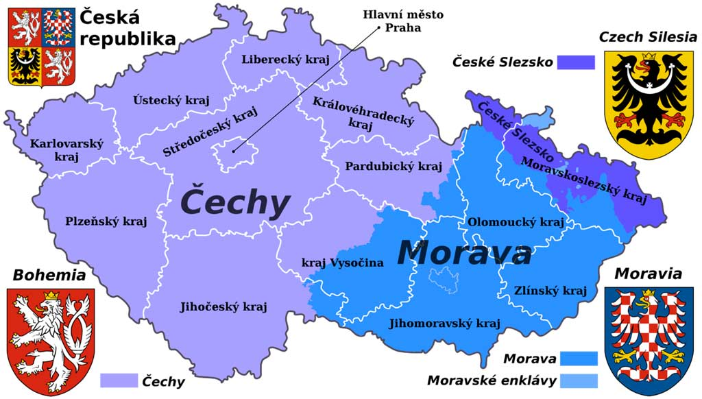 Исторические области Чехии: Богемия, Моравия и Силезия