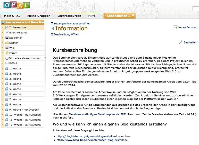 Seminarprojekt Sommersemester 2014: Landeskunde und Neue Medien (1/2)