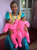Fifteen year old mother with twin boys.