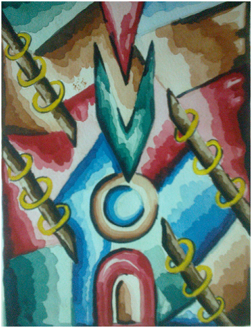 The Path of Life....an abstract water color painting - Uzma Khan Art