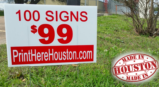 100 Custom Yard Lawn Signs for $99