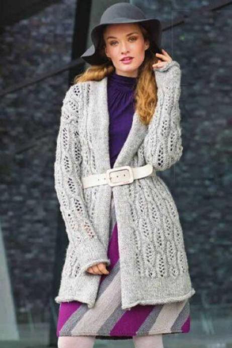 Вязание для женщин Светло-серый жакет и трехцветная юбка спицами