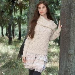 Пуловер из шерсти спицами и шарф-снуд