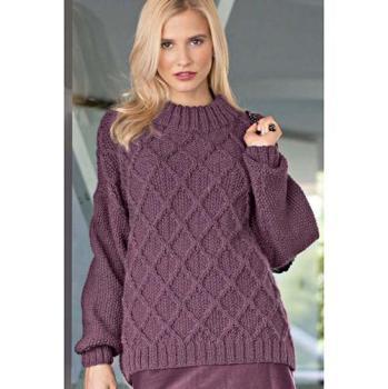 Вязание для женщин. Пуловер спицами с узором из ромбов