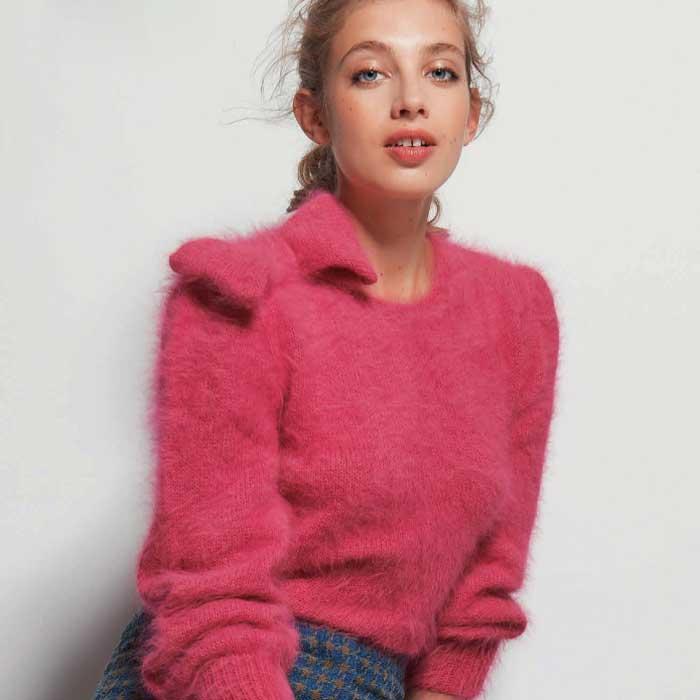 Вязание для женщин. Пуловер спицами из ангоры