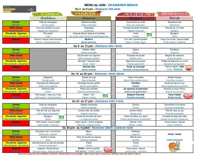 menu JUIN écoles