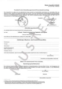 Formblatt für Unterstützungsunterschrift Landtagswahl Niedersachsen