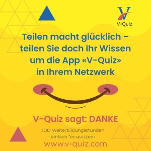 """gutberaten und IDD Weiterbildungsstunden erhalten mit der App """"V-Quiz"""". Teilen Sie Ihr Wissen in Ihrem Netzwerk"""
