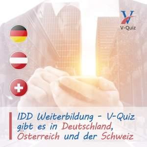 Die App V-Quiz gemäss IDD gibt es in den Ländern Deutschland, Schweiz und Österreich. IDD Weiterbildungsstunden