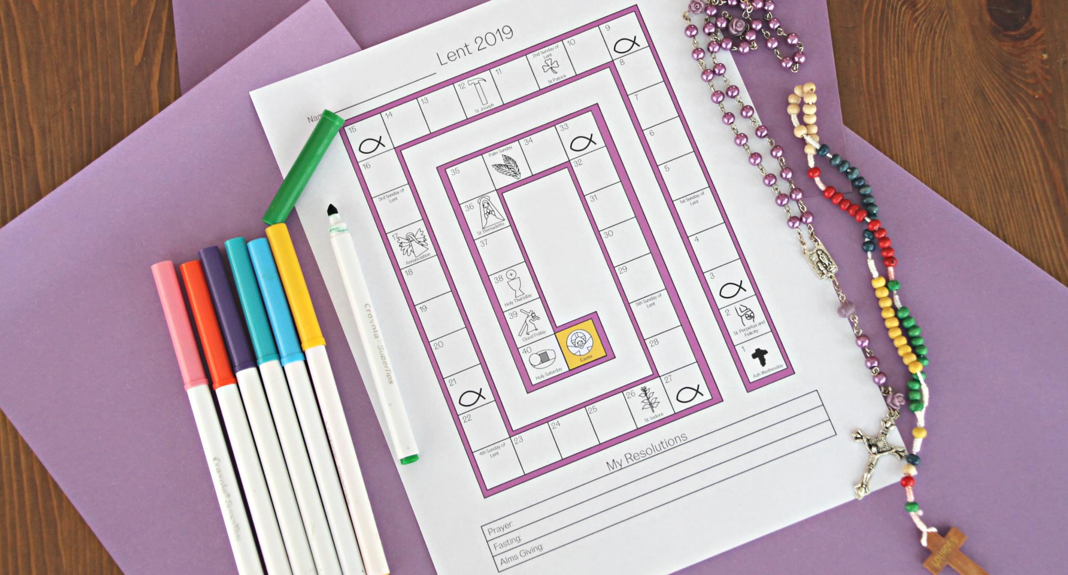 Lenten Countdown Worksheet For Children