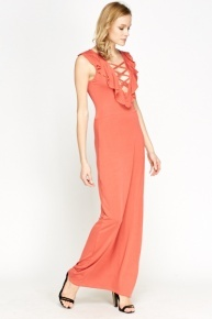 Criss Cross Front Orange Maxi Dress