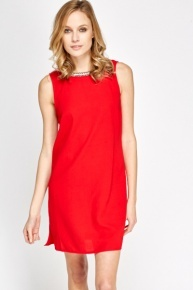 Embellished Neck Red Shift Dress