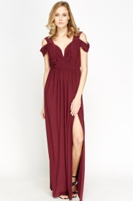 Magenta Split Side Maxi Dress