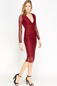 Maroon Lace Midi Bodycon Dress