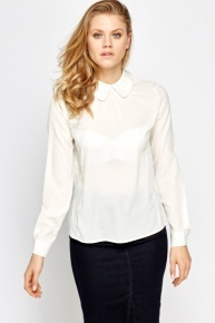Studded Collar Off White Blouse
