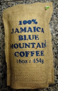 A bag of Jamaica Blue Mountain coffee beans