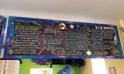 Nimbo Pizza menu board