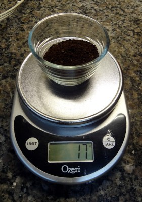 17 grams of ground coffee (about 3 tablespoons)