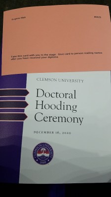 Clemson December 2020 Doctoral Hooding Ceremony