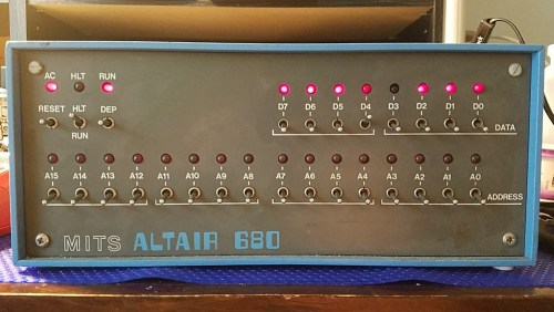 Altair 680 front panel showing some data LEDs turned on.