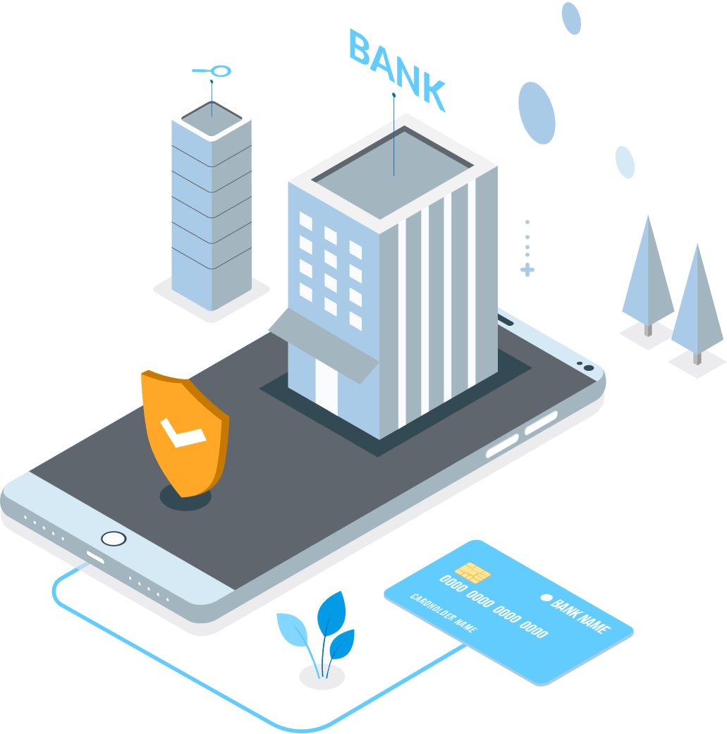 Risk Free Payments Directly in your Account - Illustration of credit card and flow of money into a bank through security