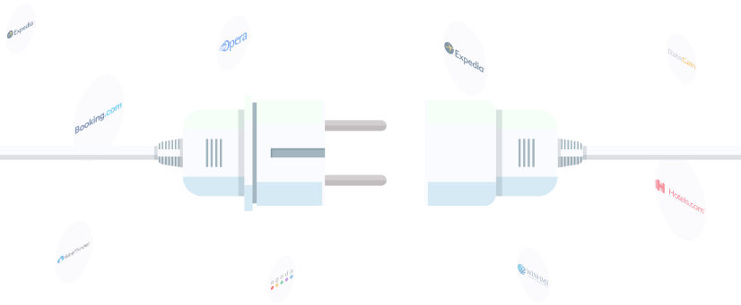 Plug-in Illustration with logos in the background - Expedia, Booking.com, Opera, Siteminder, Agoda, Rategain, Hotels.com, Winhms