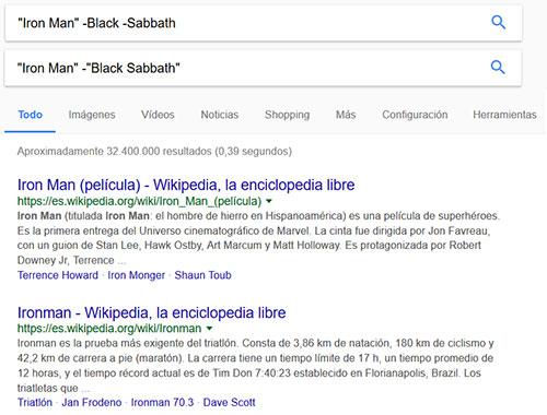 Eliminar términos en búsquedas de Google