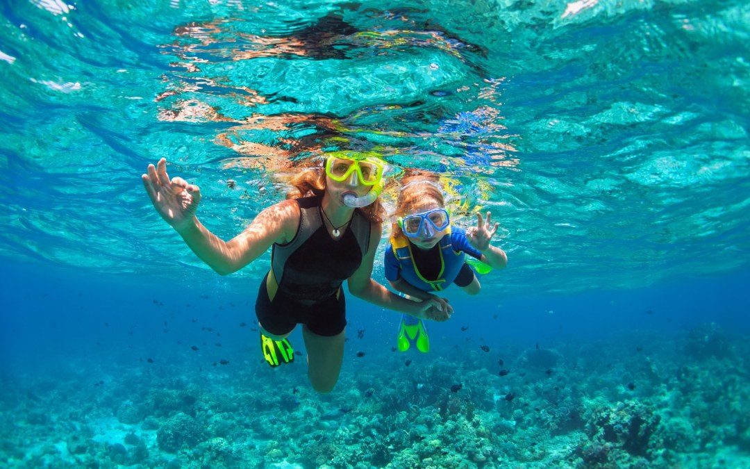 mother, kid in snorkeling