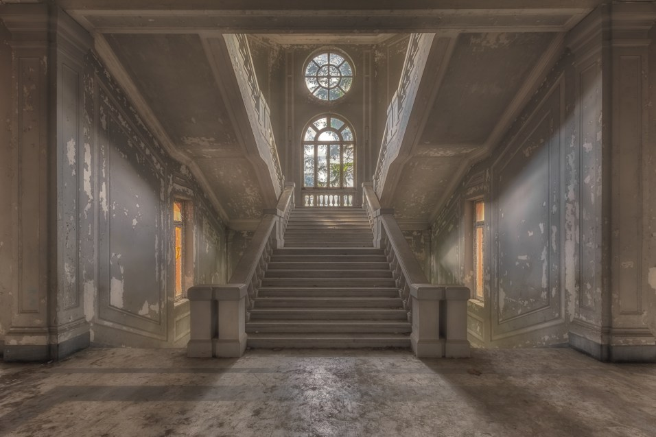 Staircase in an abandoned hospital.