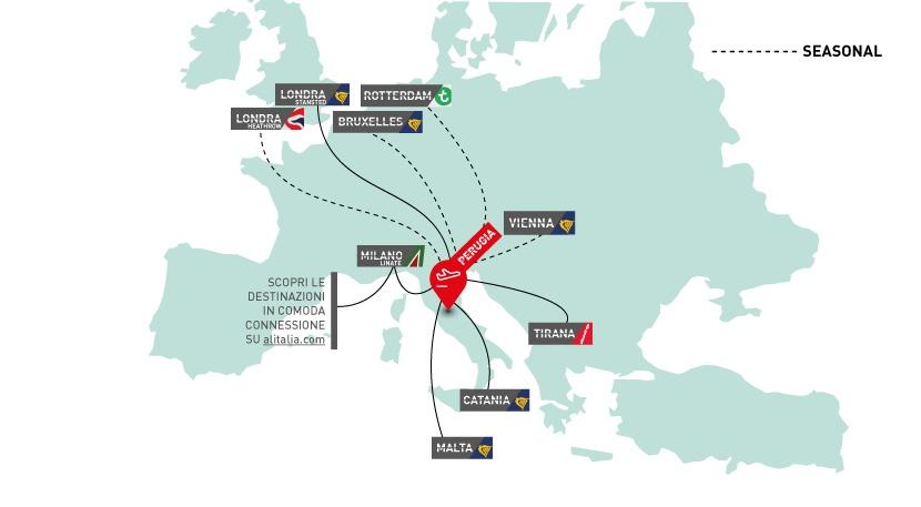 mappa degli aeroporti internazionali raggiungibili da Perugia