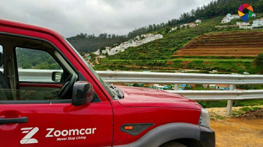 ZoomCar red scorpio at Lovedale