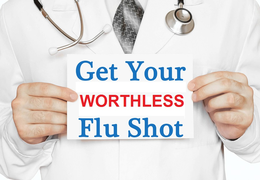 Doctor holding a card with Get Your Flu Shot medical concept