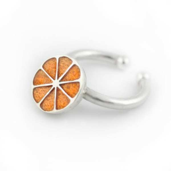 anillo de plata y esmalte naranja, frutas joya