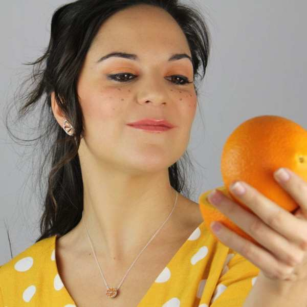 Pendientes de plata naranja