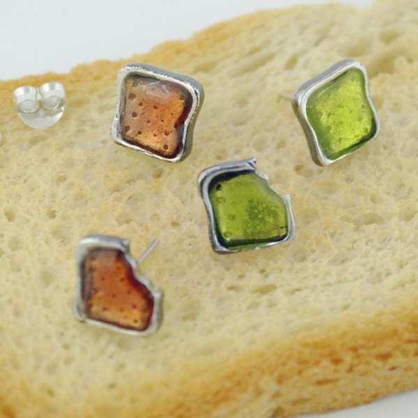Pendientes de plata tostada kiwi