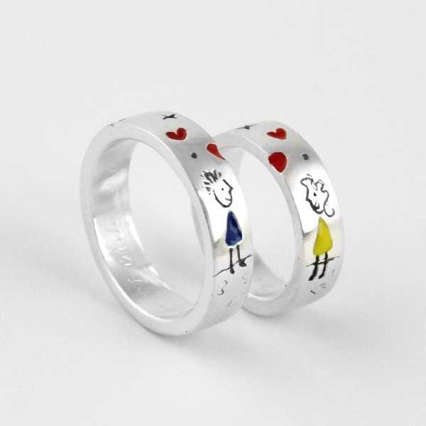 alianza de plata ilustración pareja corazón