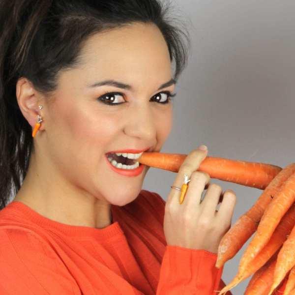 anillo de plata y esmalte zanahoria