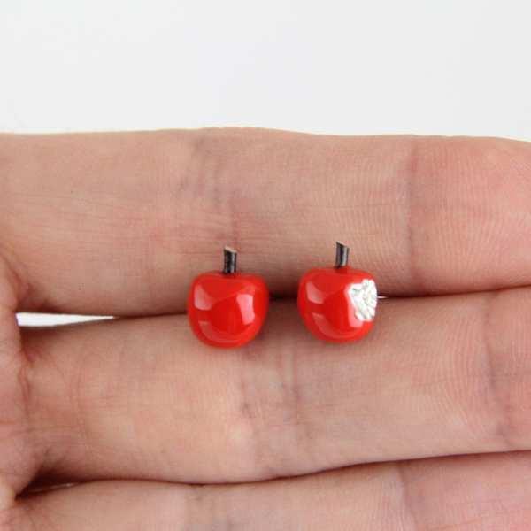 Silver Earrings, Red Apples