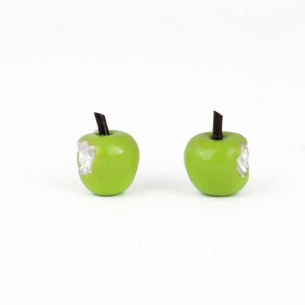 Silver Earrings, green Apples