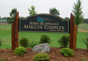 Champlin Athletic Complex Sign with Epoxy Fill