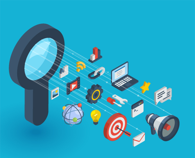 magnifying glass with marketing icons