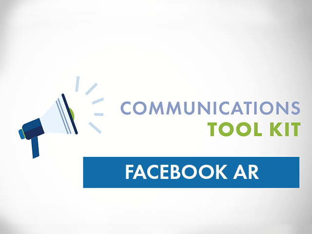Megaphone with the words Communications Tool Kit Facebook AR
